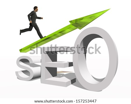 Concept or conceptual 3D green glass SEO symbol with arrow pointing up isolated on white background with businessman as a metaphor for business,website,optimize,strategy,success,traffic or information - stock photo