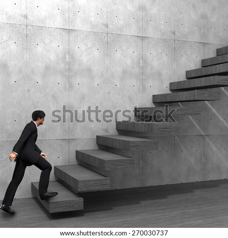 Concept or conceptual 3D male businessman on stair or steps near a wall background, metaphor to success, climb, business, rise, achievement, growth, job, career, leadership, education, goal or future - stock photo