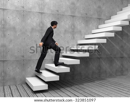 Concept or conceptual 3D man or  businessman climbing on a stair or steps near a wall background - stock photo
