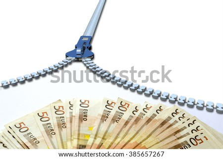 Concept or conceptual 3D metal zipper from to euro money banknotes or cash isolated on white banking background, metaphor to business, finance, savings, growth, wealth, shopping, vision, economy trade - stock photo