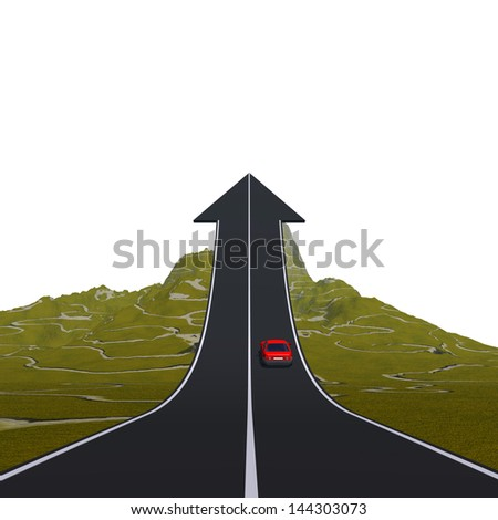 Concept or conceptual 3D red car on arrow road pointing up,upward over a mountain isolated on white background, metaphor to success,business,future,progress,increase,growth,goal,top or challenge - stock photo