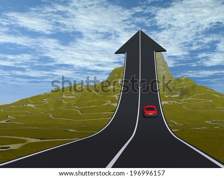 Concept or conceptual 3D red car on arrow road pointing up,upward over a mountain to sky background, metaphor to success, business, future, transportation, progress, increase, growth, goal, challenge - stock photo