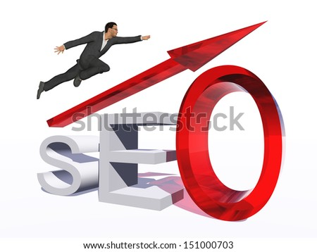 Concept or conceptual 3D red glass SEO symbol with arrow pointing up isolated on white background with businessman as a metaphor for business,website,optimize,strategy,success,traffic or information - stock photo