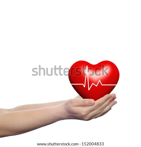 Concept or conceptual 3D red human heart sign or symbol with pulse held in human man or woman hands isolated on white background - stock photo