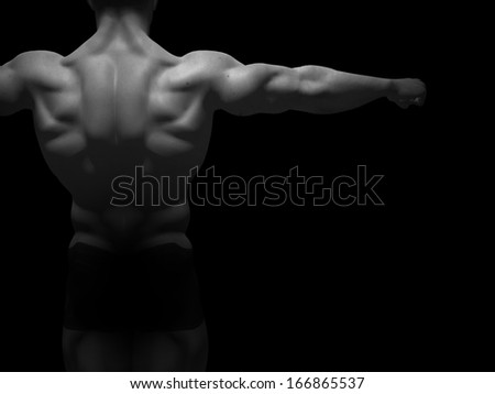 Concept or conceptual 3D strong young male man bodybuilder isolated on black background,metaphor to sport,athlete,fitness,health,fit,handsome,sexy,strength,power,attractive,bodybuilding,gym,macho,diet - stock photo