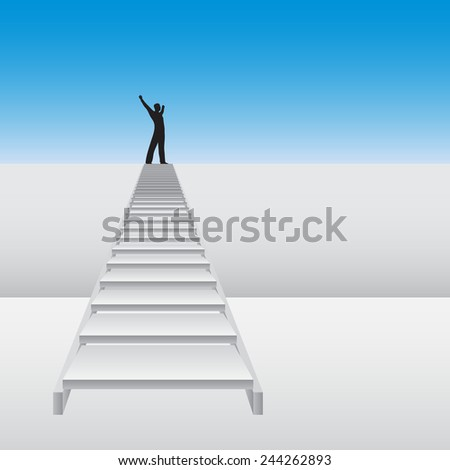 Concept or conceptual 3D white stair climbing a wall with a business happy winner man over sky background, metaphor to success, career, work, progress, rise, achievement, ambition, growth goal - stock photo
