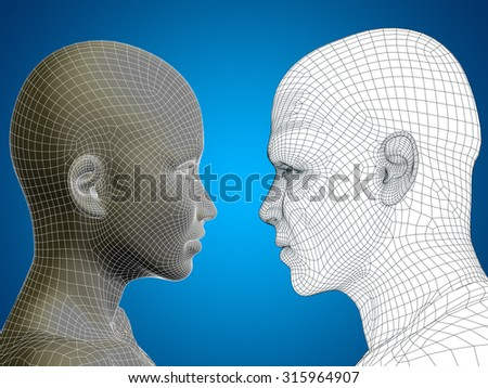 Concept or conceptual 3D wireframe or mesh human male and female head on blue gradient background metaphor to technology, cyborg, digital, virtual, avatar, model, science, love, relation or future - stock photo