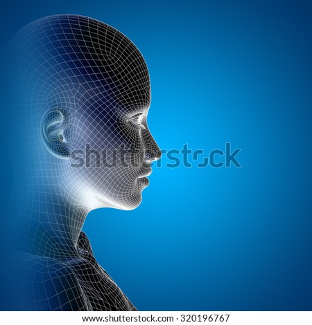 Concept or conceptual 3D wireframe young human female or woman face or head on blue background or technology, cyborg, digital, virtual, avatar, model, science, fiction, future, mesh or abstract - stock photo