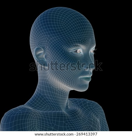 Concept or conceptual 3D wireframe young human female or woman head isolated on background, metaphor for technology, cyborg, digital, virtual, avatar, model, science, fiction, future, mesh or abstract - stock photo