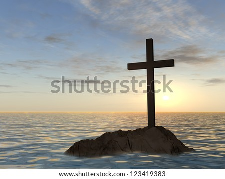 Concept or conceptual dark christian cross standing on a rock in the sea or ocean over a beautiful sky at sunset as a metaphor for faith,religion,religious,belief,Jesus, Christ,spiritual or church - stock photo