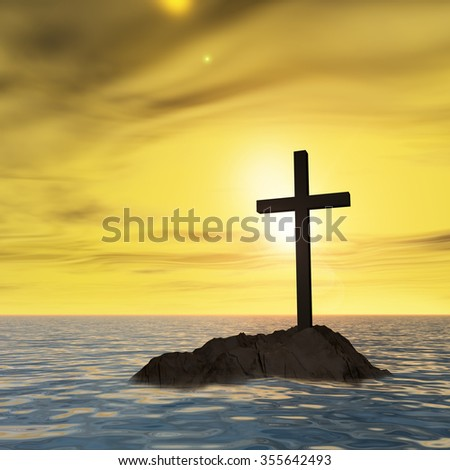 Concept or conceptual dark christian cross standing on a rock in the sea or ocean over a beautiful sky at sunset, metaphor for faith, religion, religious, belief, Jesus, Christ, spiritual or church - stock photo