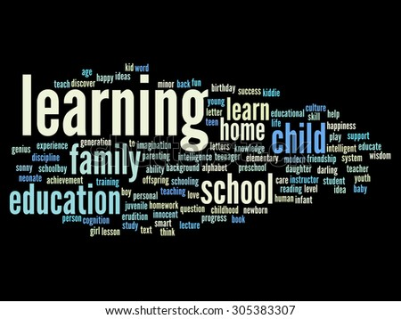 Concept or conceptual education abstract word cloud, black background, metaphor to child, family, school, life, learn, knowledge, home, study, teach, educational, achievement, childhood or teen - stock photo