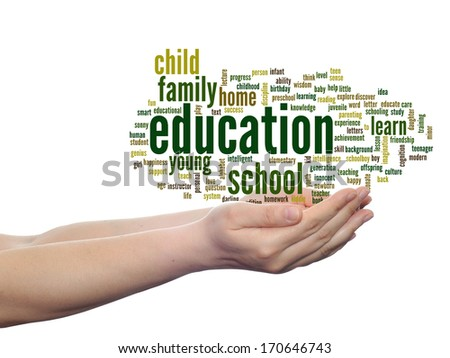 Concept or conceptual education abstract word cloud, human man hand on white background,metaphor to child, family, school, life, learn, knowledge, home, study, teach, achievement, childhood or teen - stock photo