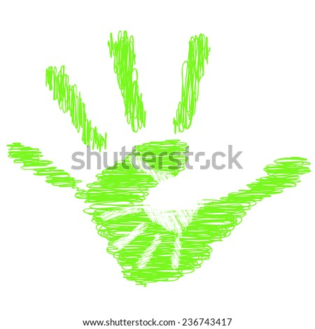Concept or conceptual green cute drawing paint hands of mother and child isolated on white for art, care, childhood, family, fun, happy, infant, symbol, kid, little, love, mom, motherhood or young - stock photo