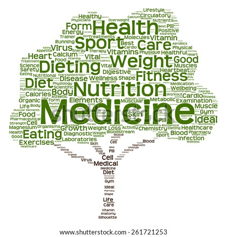 Concept or conceptual green text word cloud or tagcloud tree isolated on white background, metaphor to health, nutrition, diet, healthy, wellness, body, energy, medical, sport, heart or science - stock photo