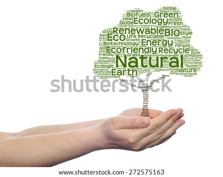 Concept or conceptual green text word cloud tree in man or woman hand isolated white background, metaphor to nature, ecology, bio, eco, energy, natural, life, world, global, protect or environmental - stock photo