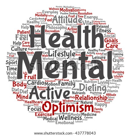 Concept or conceptual mental health or positive thinking abstract round word cloud isolated on background, metaphor to optimism, psychology, mind, healthcare, thinking, attitude, balnce or motivation - stock photo