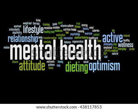Concept or conceptual mental health or positive thinking abstract word cloud isolated on background, metaphor to optimism, psychology, mind, healthcare, thinking, attitude, balnce or motivation - stock photo