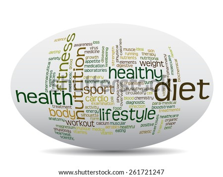Concept or conceptual oval abstract word cloud on white background as metaphor for health, nutrition, diet, wellness, body, energy, medical, fitness, medical, gym, medicine, sport, heart or science - stock photo