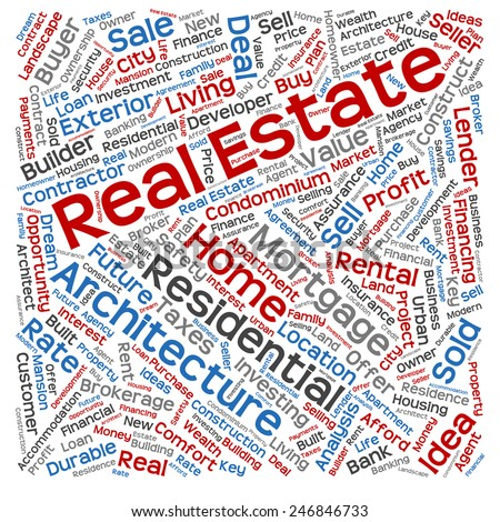 Concept or conceptual real estate or housing text word cloud tagcloud isolated on background, metaphor to investment, family, home, building, sale, residential, property, construction business - stock photo