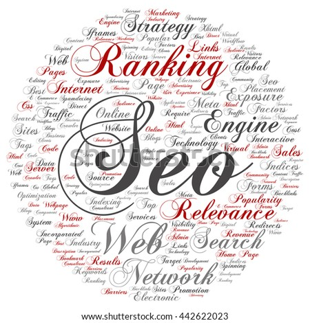 Concept or conceptual search engine optimization, round seo abstract word cloud isolated on background, metaphor to marketing, web, internet, strategy, online, rank, result,  network, top, relevance - stock photo