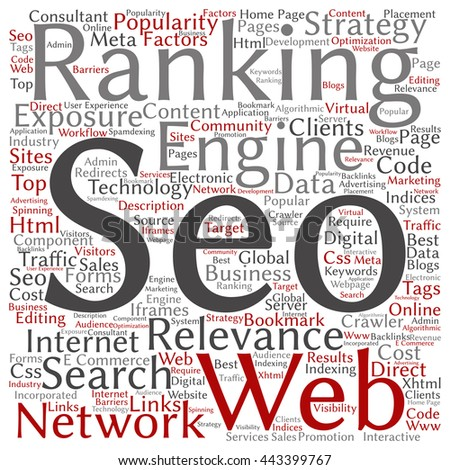 Concept or conceptual search engine optimization, seo abstract square word cloud isolated on background - stock photo