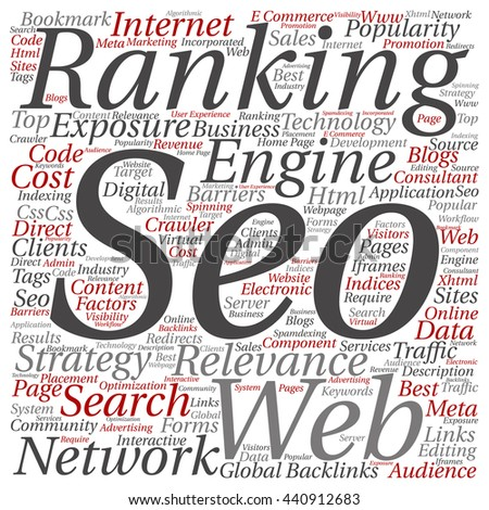 Concept or conceptual search engine optimization, seo square word cloud isolated on background, metaphor to marketing, web, internet, strategy, online, rank, result,  network, top, relevance - stock photo