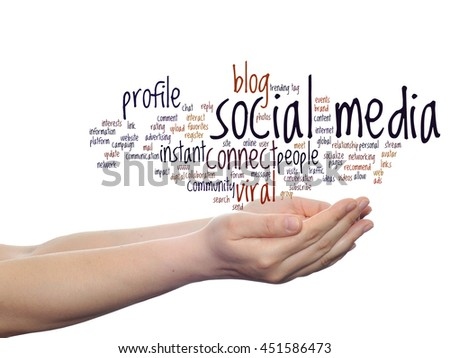 Concept or conceptual social media marketing or communication abstract word cloud in hand isolated on background, metaphor to networking, community, technology, advertising, global, worldwide tagcloud - stock photo