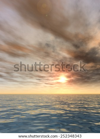 Concept or conceptual sunset or sunrise background with the sun close to horizon and sea or ocean as a metaphor for nature, romantic, dramatic, light, evening, morning, peace, atmosphere or weather - stock photo