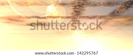 Concept or conceptual sunset or sunrise background with the sun close to horizon as a metaphor for nature,finish,romantic,dramatic,light,evening or morning,peace,atmosphere,weather or sunshine banner - stock photo