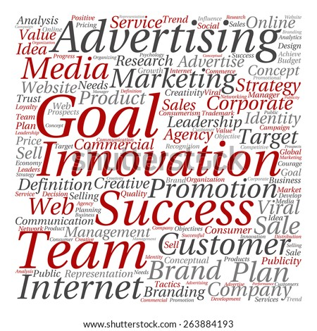 Concept or conceptual text word cloud isolated on background, metaphor to advertising, business, company, growth, corporate, identity, innovation, media, management, market, sale or trend value - stock photo