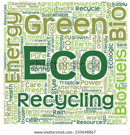 Concept or conceptual text word cloud isolated on background, metaphor to nature, ecology, green, energy, natural, life, world, eco, clean, organic, global, protect, environmental or recycling - stock photo