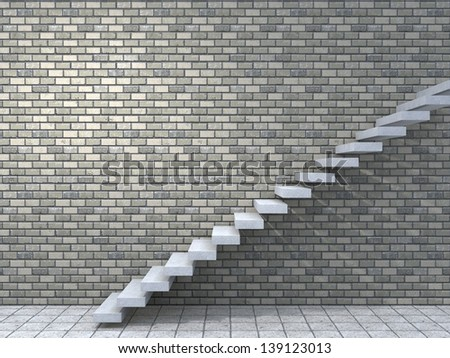 Concept or conceptual white stone or concrete stair or steps near a brick wall background with wood,metaphor to architecture,success,climb,business,staircase,stairway,rise,achievement,growth or future - stock photo