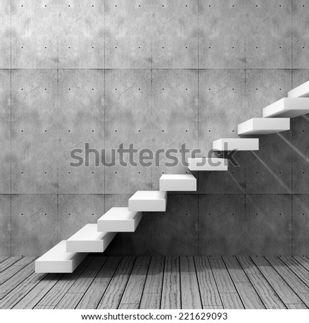 Concept or conceptual white stone or concrete stair or steps near a wall background with wood floor, metaphor to architecture, success, climb, business, staircase, rise, achievement, growth or future - stock photo