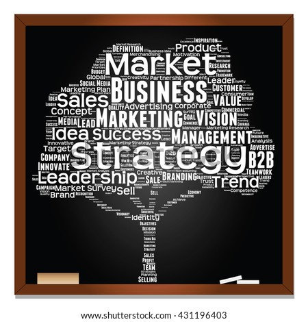 Concept or conceptual white tree word cloud or wordcloud on black blackboard background, metaphor to business, trend, media, focus, market, value, product, advertising, leadership or customer - stock photo