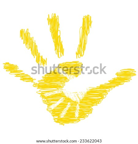 Concept or conceptual yellow cute drawing paint hands of mother and child isolated on white for art, care, childhood, family, fun, happy, infant, symbol, kid, little, love, mom, motherhood or young - stock photo