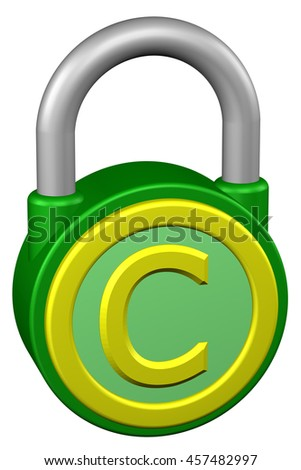 Concept: padlock with sign copyright. Isolated on white background. 3D rendering. - stock photo