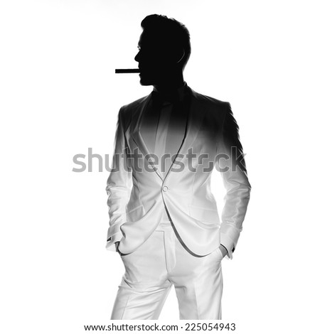 Concept photo of handsome stylish man with cigar - stock photo