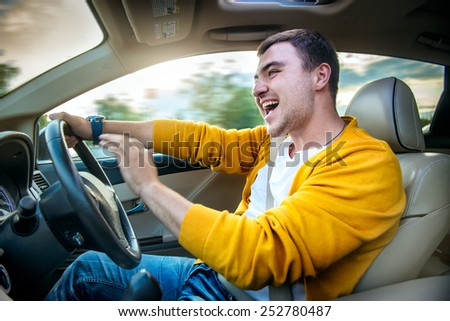 Concept photo of unsafe and dangerous car driving - stock photo