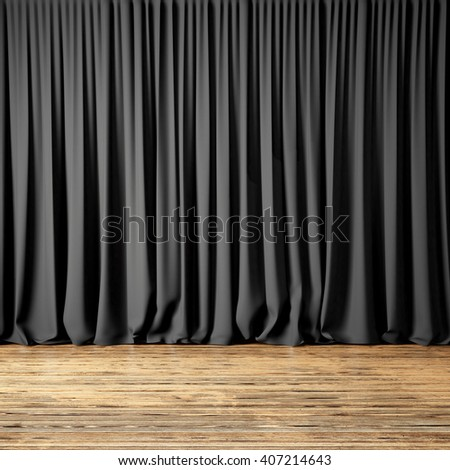 Concept picture highly detailed black Curtains. Photo of backstage with dark textile curtains and wood floor. Abstract interior background. Square mockup. 3d rendering - stock photo