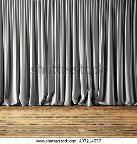Concept picture highly detailed gray Curtains. Photo of backstage with textile curtains and wood floor. Abstract interior background. Square mockup. 3d rendering - stock photo