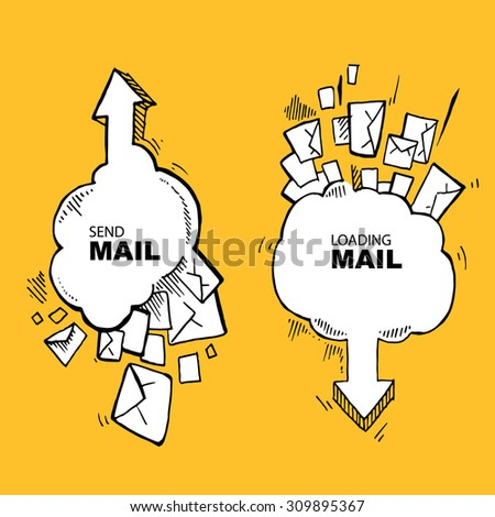 Concept pictures with flying of big letters. Two big icons. Send and loading e-mail - stock photo