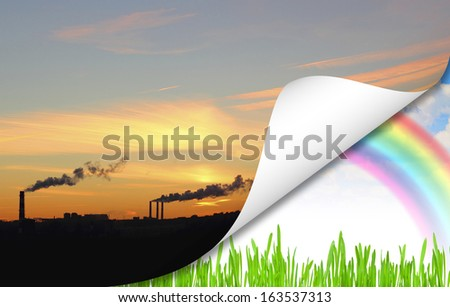 concept pollution of the planet, rainbow blue summer sky green grass - stock photo