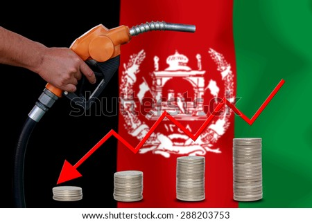 Concept Price of Gas or oil on  Afghanistan flag background. - stock photo