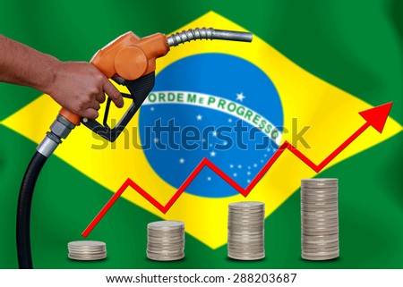 Concept Price of Gas or oil on  Brazil flag background. - stock photo