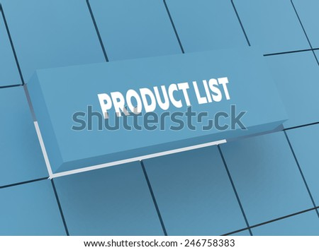 Concept PRODUCT LIST - stock photo