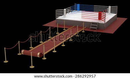 concept. red event carpet to a boxing ring red isolated on a black background. High resolution 3d render - stock photo