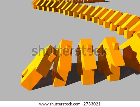 concept render of a falling housing market - stock photo