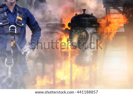 Concept Rescue : Rappelling for rescue and fire industry background. - stock photo
