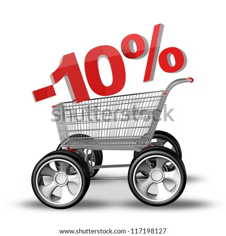 Concept SALE discount 10 percent. shopping cart with big car wheel High resolution 3d render - stock photo